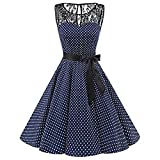 HOOUDO Women Dress Sleeveless Polka Dot Plus Size Lace Hepburn Vintage Bandage Evening Party Swing High-Waist Pleated Dress(3XL,Navy)