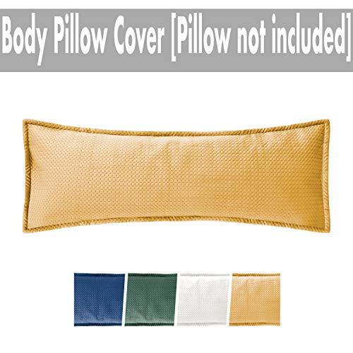 Massam Decor Body Pillow Cover Luxury Soft Velvet (Mustard, Velvet, 20x54) (Yellow Pillow Body)