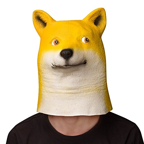 Latex Dog Costume (Ylovetoys Shiba Inu Mask Latex Animal Dog Head Mask for Halloween Costume Party)