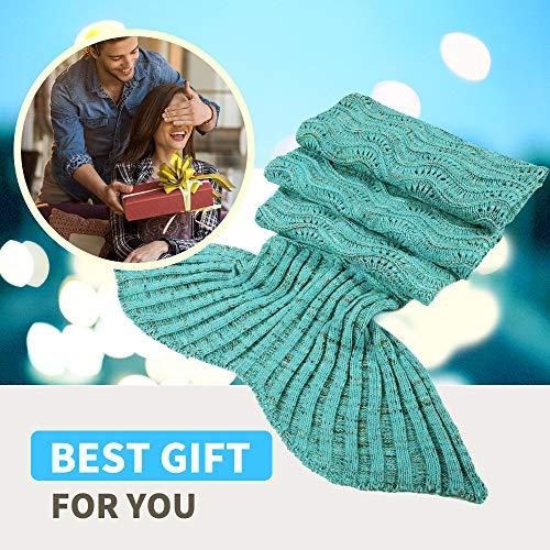 Fu Store Mermaid Tail Blanket Crochet Mermaid Blanket for Adult Teens, Super Soft All Seasons Sofa Sleeping Blanket…