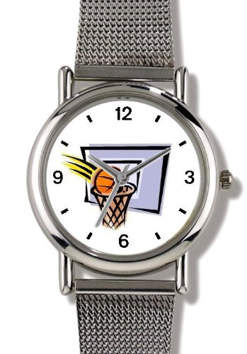 Basketball, Hoop, Backboard, Swish Basketball Theme - WATCHBUDDY ELITE Chrome-Plated Metal Alloy Watch with Metal Mesh Strap-Size-Large ( Men's Size or Jumbo Women's Size ) by WatchBuddy
