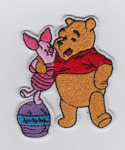 Winnie the Pooh Hugging Piglet on Upside Down Honey Pot- Children Iron on Patches/Sew On/Applique/Embroidered
