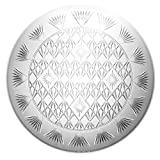 Party Essentials Hard Plastic 16-Inch Round Diamond Cut Serving Tray, Crystal Clear, Single Unit