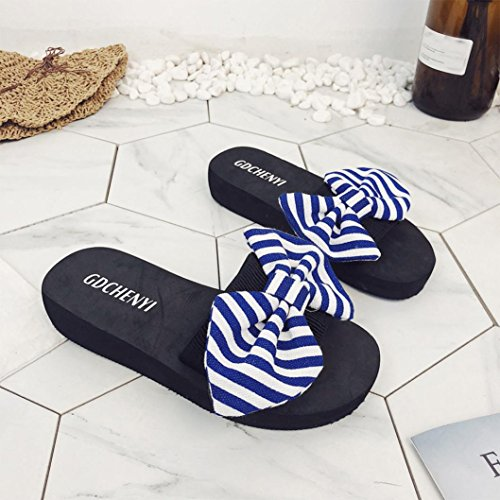 D'intérieur Noir Plage Extérieur Chaussures Bleu Flip flops Eu 36 De D'été Sandales Bow Culater® Femmes En Pantoufles nxqwZXw