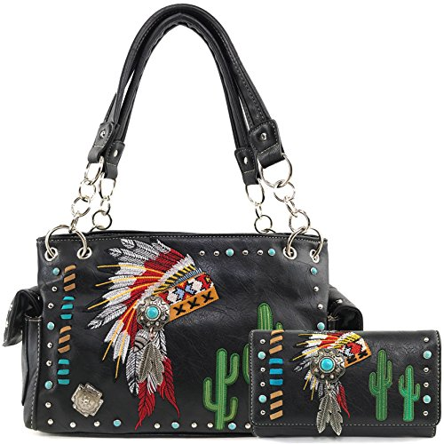 Justin West Native American Chieftain Cactus Feathers Embroidered Studded CCW Concealed Carry Shoulder Purse Handbag (Black Handbag and Wallet) American West Womens Western Purse