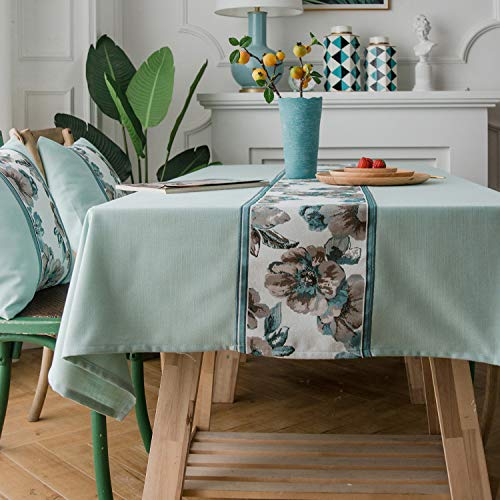 LINENLUX Stylish Square Rectangular Tablecloth/Table Cover for Kitchen Dinning Tabletop Decoration Green Flower Rectangle/Oblong 55 X 86 in