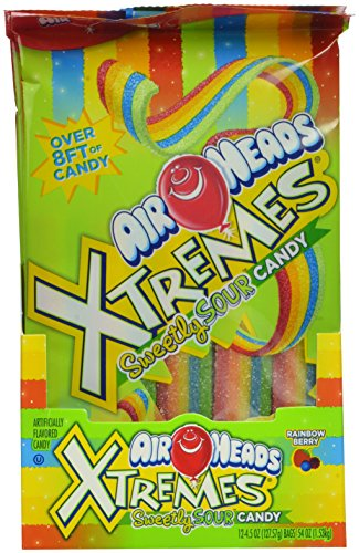 AirHeads Xtremes Sweetly Sour Candy Belts, Rainbow Berry, Non Melting, 4.5 Ounce (Bulk Pack of 12)