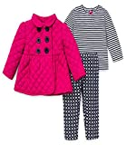 Little Me Girls 3 Piece Pink Quilted Double Breasted Jacket, Leggings and Long Sleeved Shirt (2T)