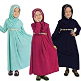 Islamic Long Muslim Dress - Abaya with Hijab Embroidered with Colored Flowers - Long Sleeve - for Baby Toddler Girl Navy Blue