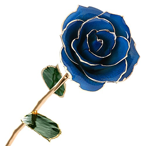 Polend [Valentine's Day Gifts] Love forever Long Stem Dipped 24k Gold Foil Trim Rose, Best Gift for Valentine's Day Gifts,Women's day,Mother's Day, Anniversary, Birthday Gift,Last Forever (Blue)