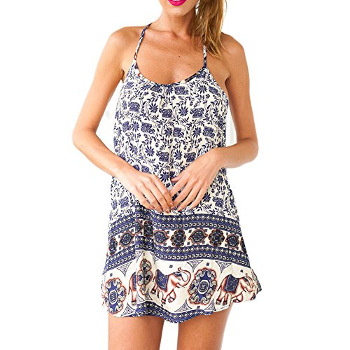 FUNOC® Women Summer Elephant Print Cocktail Party Evening Beach Mini Dress
