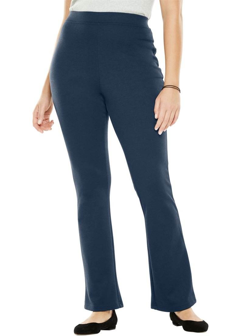 Women's Plus Size Petite Bootcut Ponte Stretch Knit Pant