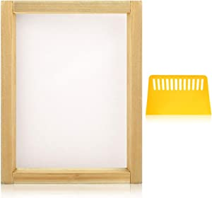 Caydo 8 x 10 Inch Wood Screen Printing Frame with 110 White Mesh and 1 Piece Plastic Scraper