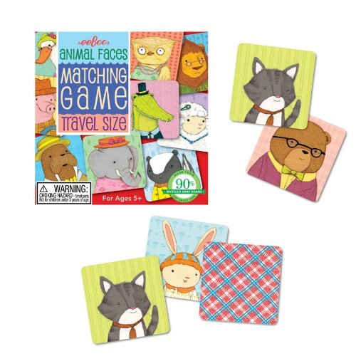 Eeboo Travel Animal Faces Matching Game