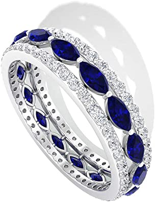 Stacking Silver Marquise Cut Sapphire Ring Sapphire Marquise Silver Ring Synthetic Blue Sapphire Marquise Ring September Birthstone Ring
