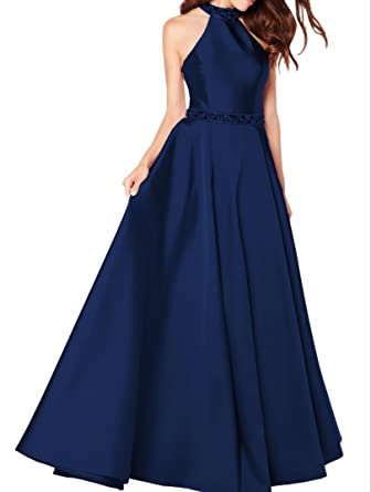 Yilisclothing Womens Halter Satin Ball Gown Prom Dresses Backless Evening Gown Navy Blue US2