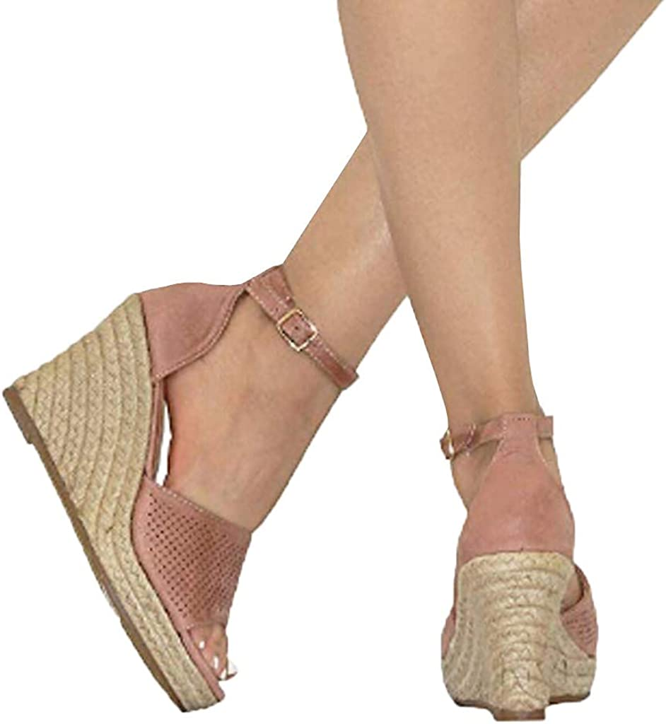 RAISINGTOP Womens Espadrille Adjustable Buckle Ankle Strap Platform Sandals Ladies Summer Casual Open Toe Heels Shoes