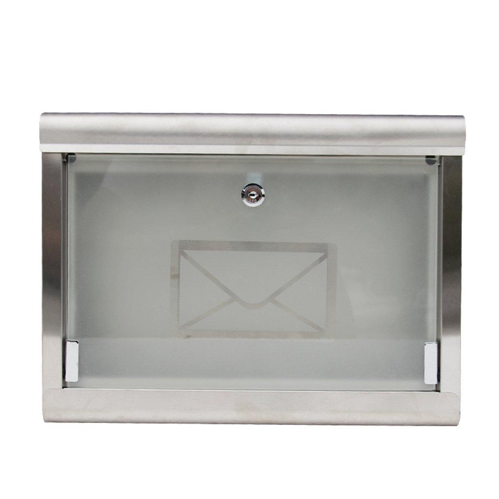 CJH ファッションヨーロッパヴィラレインウォールポスト304ステンレス製の郵便箱のガラスの郵便屋外   B07D27L7KQ