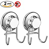 #6: SANNO Double Hooks Suction Cups Vacuum Hook for Flat Smooth Wall Surface Towel Robe Bathroom Kitchen Shower Bath Coat,NeverRust Stainless Steel (2 pack)
