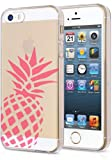 iPhone 5S Clear Case Pink Pineapple Love Fruits Summer Cool Funny Teen Girls UNIQUE Designer CLEAR Transparent Gloss Candy TPU Flexible Slim Case Cover Skin for Apple iPhone 5S