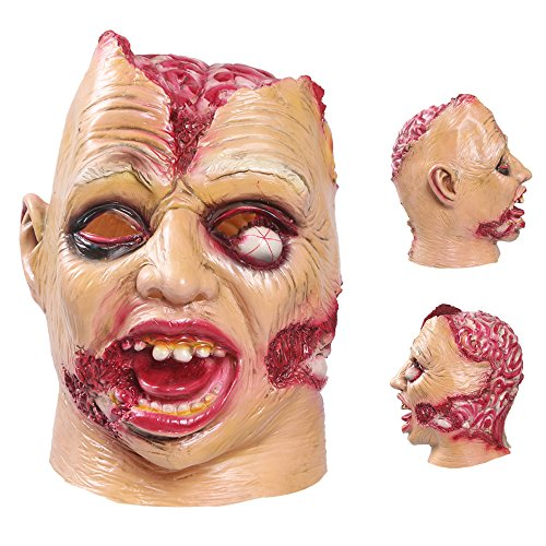 Scary Gas Mask Halloween Costume (Halloween Mask AmyHomie Halloween Cosplay Costume Party Decorations Vampire Zombie Horror Scary Masks Clown Mask with hair Latex head mask)