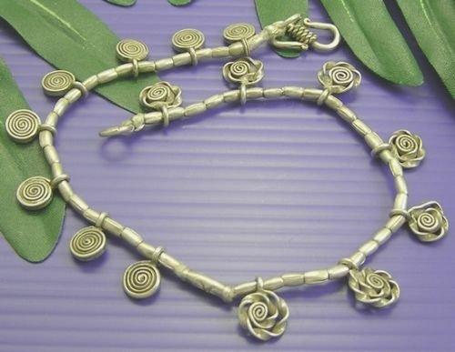 INFINITY KAREN HILL TRIBE 98% Silver TWIRL CHARM Lovely ANKLET Bracelet A009 (Goddess Costume Diy)