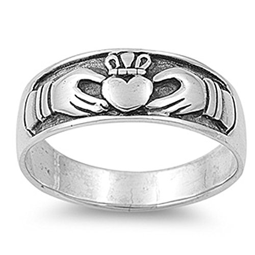 Sterling Silver Antiqued Claddagh Ring - Antiqued Claddagh Heart Purity Ring New .925 Sterling Silver Band Size 7