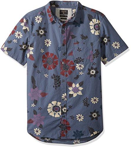 Quiksilver Men's Short Sleeve, Vintage Indigo Sunset Floral S, XL