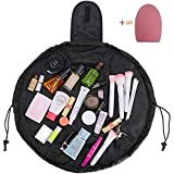 Portable Lazy Drawstring Cosmetic Bag Multifunctional Waterproof Toiletry Bags Quick Pack Travel Bag for Women Girls,Brush Cleaner Egg(Black)