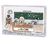 Personalized Friendly Folks Cartoon Snow Globe Frame Gift: Teacher - Male Great for elementary, intermediate, middle school teacher
