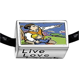 Chicforest Silver Plated Father's Day father son on grass Photo Live Love Laugh Charm Beads Fits Pandora Charm Bracelet