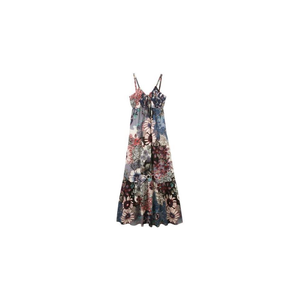 New Fashion Shoulder Straps Bohemia Floral Print Long Maxi Dress Sundress