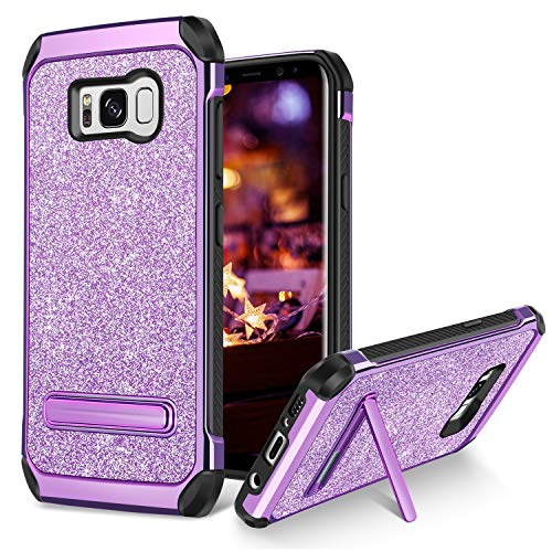 BENTOBEN Case for Galaxy S8 Plus 2 in 1 Kickstand Design Shockproof Protective Glitter Shiny Girl Women Faux Leather Hard Case Full Body Soft Bumper Phone Case for Samsung Galaxy S8 Plus, Purple