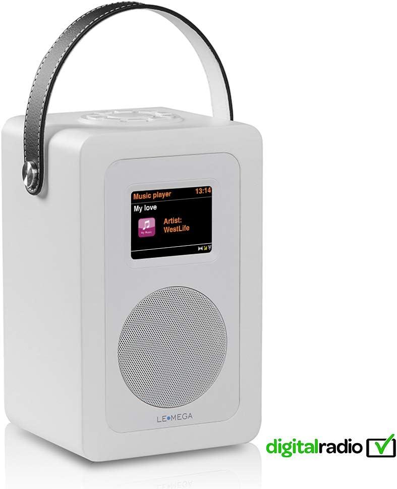 LEMEGA M6+ Radio Inteligente Portátil con Wi-Fi, Radio por Internet, Spotify, Bluetooth, DLNA, Dab, Dab+, Radio FM, Reloj, Alarmas, Preajustes Y Control Inalámbrico De Aplicaciones - Blanco Satinado