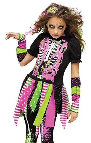 Fun World Big Girl's Medium/neon Zombie Chld Cstm Childrens Costume, multi/color, Medium -