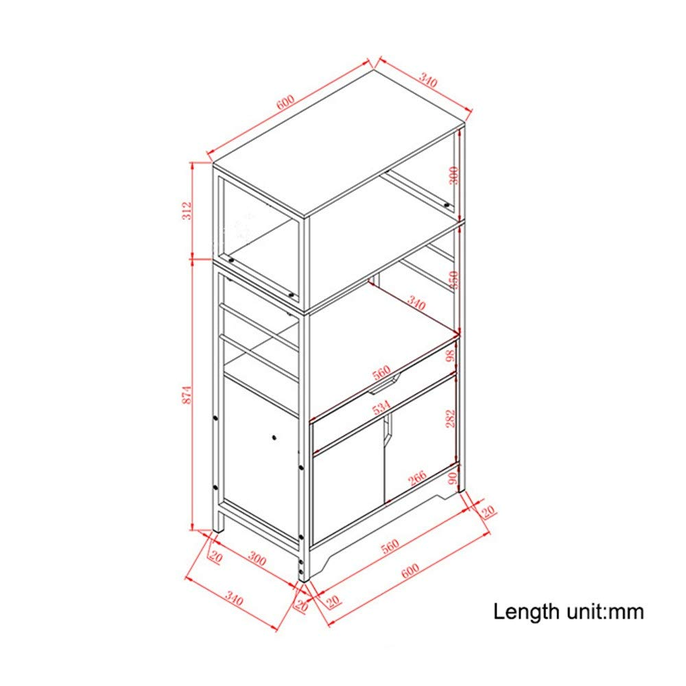 Kitchen Shelf Organizer Metal Microwave Oven Rack Stand Storage Shelf with Cabinet and Drawer for Kitchen (Color : Grey, Size : 60x34x119 cm) by Han cheng he