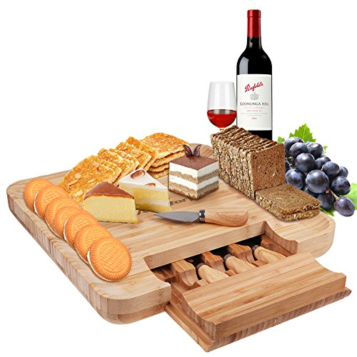- Cheese Board with Cutlery Set, Natural Bamboo Charcuterie Platter Set with Cutlery In Slide-Out Drawer, 4 Stainless Steel Knife and Utensils-Serving Crackers, Wine, Meats, Fruits Cheese (wood)