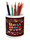 Lunarable Mothers Day Pencil Pen Holder, Cheerful Circle and Hand Drawn Elements Best Mom Ever Phrase, Printed Ceramic Pencil Pen Holder for Desk Office Accessory, Chestnut Brown and Multicolor