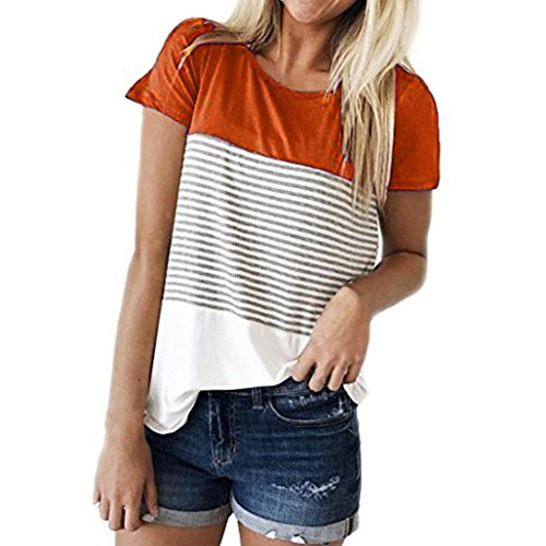 Summer Short Shirts for Women Short Sleeve Triple Color Block Stripe T-Shirt Casual (Long Smocked Seersucker)