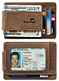 Toughergun Genuine Magnetic Napa Leather Front Pocket Money Clip Slim Minimalist Wallet Made with Powerful RARE EARTH Magnets Plus RFID Blocking (Crazy Horse Khaki)