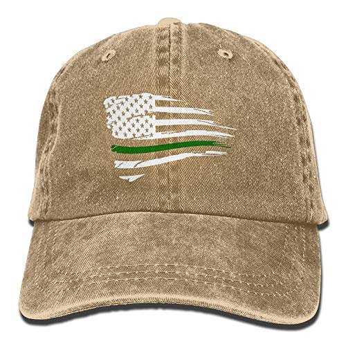 WANING MOON American Flag Green Thin Line Cowboy Hat Adjustable Baseball Cap Sunhatcap Peaked Cap