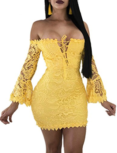 a618d525e2 FairBeauty Women s Lace Dress Sexy Off Shoulder Flare Sleeve Floral Bodycon  Party Club Mini Dress