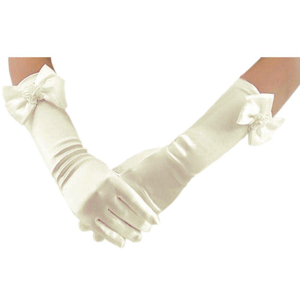 Deceny CB Long Gloves for Flower Girls Princess Gloves for Wedding Formal Gloves (Ivory)