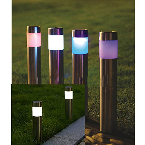 Yunhigh Solar Lights Outdoor [4 pack]- Solar Powered Pathway Light - Bright White - Landscape Bollard Light Stakes for Lawn Patio Yard Walkway Driveway(Stainless Steel,Waterproof)