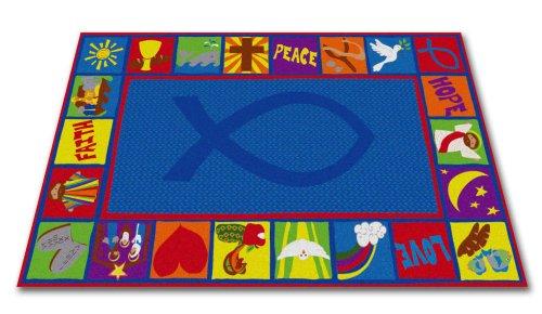 Kid Carpet FE754-34A Bible Squares Christian School Nylon Area Rug, 6' x 8'6'', Multicolored by Kid Carpet