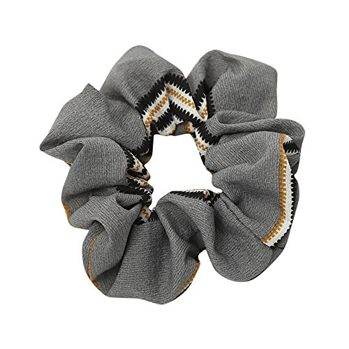 URIBAKE Women Elastic Hair Rope Ring Tie Print Cloth Scrunchie Ponytail Holder Hair Band Headband Gray