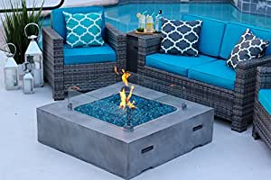 """42"""" x 42"""" Square Modern Concrete Fire Pit Table w/ Glass Guard and Crystals in Gray by AKOYA Outdoor Essentials (Onyx Black)"""
