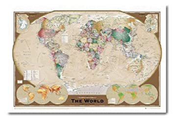 Amazon iposters world map poster triple projection magnetic iposters world map poster triple projection magnetic notice board white framed 965 x 66 cms gumiabroncs Choice Image