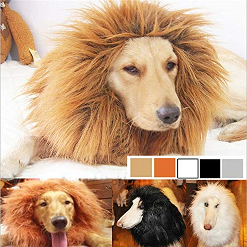 Dog Products Furry Pet Costume Lion Mane Wig for Cat Halloween False Hair Dressed Lions Pets Accessories for Dogs -