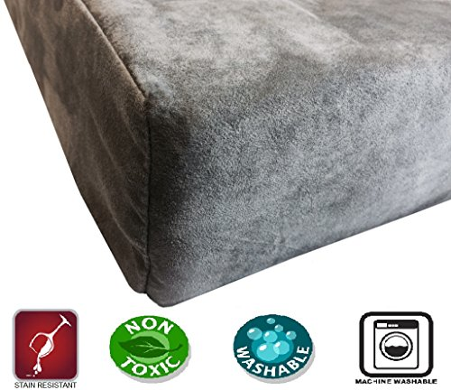 Dogbed4less Premium Orthopedic Memory Foam Dog Bed for Medium to Large Pet, Waterproof Liner, Micro Suede Gray Cover, XL Cooling 47X29X4 Pad Fit 48X30 Crate by Dogbed4less (Image #2)